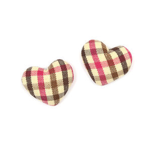 Children Clipon Earrings and Children Jewellery – Yellow pink brown tartan fabric covered...