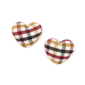 Children Clipon Earrings and Children Jewellery – Black, yellow and red tartan fabric...