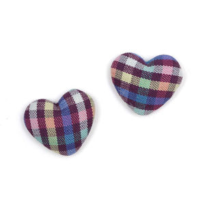 Children Clipon Earrings and Children Jewellery – Blue green pink tartan fabric covered...