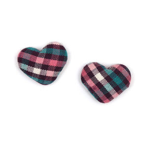 Children Clipon Earrings and Children Jewellery – Pink green tartan fabric covered heart...