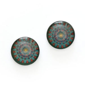 Children Clipon Earrings and Children Jewellery – Geometric flower printed glass round...