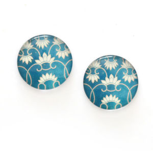 Children Clipon Earrings and Children Jewellery – Blue floral printed glass round clip-on...