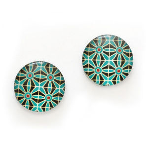 Children Clipon Earrings and Children Jewellery – Sea green flower printed glass round...