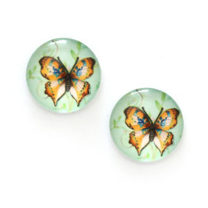 Children Clipon Earrings and Children Jewellery – Brown butterfly printed glass on pale...