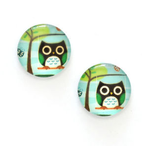 Children Clipon Earrings and Children Jewellery – Black owl on branch printed glass round...