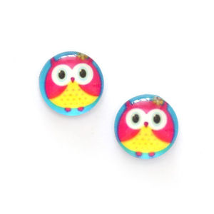 Children Clipon Earrings and Children Jewellery – Yellow and pink owl printed glass round...