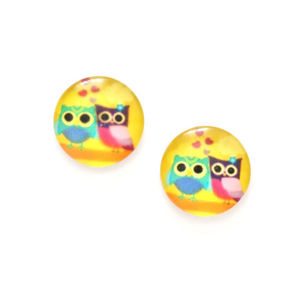 Children Clipon Earrings and Children Jewellery – Cute owls printed glass on yellow button...