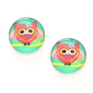 Children Clipon Earrings and Children Jewellery – Lovely pink owl printed glass on green...