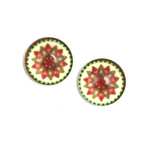 Children Clipon Earrings and Children Jewellery – Beautiful geometric flower printed glass...