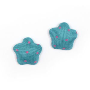 Children Clipon Earrings and Children Jewellery – Teal polka dots fabric covered star...