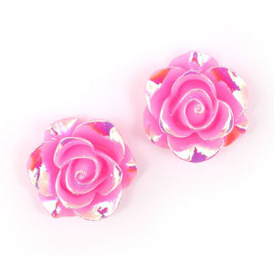 Children Clipon Earrings and Children Jewellery – Hot pink flower with AB colour plated...