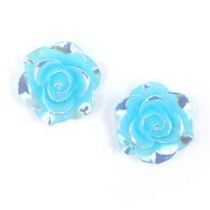 Children Clipon Earrings and Children Jewellery – Sky blue flower with AB colour plated...
