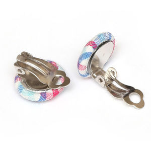 Children Clipon Earrings and Children Jewellery – Blue and pink tartan fabric covered...
