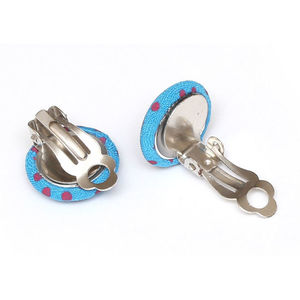 Children Clipon Earrings and Children Jewellery – Blue polka dot fabric covered round button
