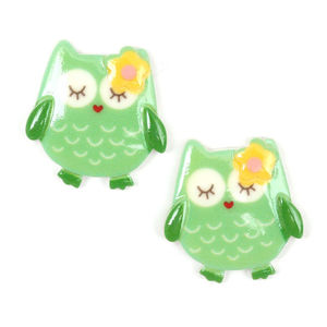 Children Clipon Earrings and Children Jewellery – Green owl with yellow flower