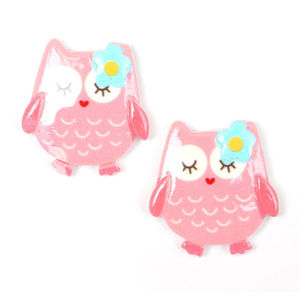 Children Clipon Earrings and Children Jewellery – Pink owl with turquoise flower