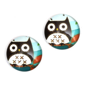 Children Clipon Earrings and Children Jewellery – Black owl printed glass round button...