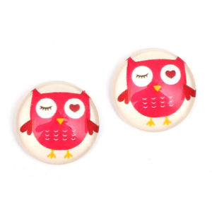 Children Clipon Earrings and Children Jewellery – Pink owl on white glass button with...