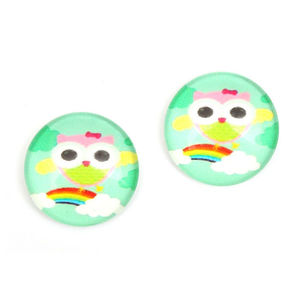 Children Clipon Earrings and Children Jewellery – Green rainbow and owl printed glass...