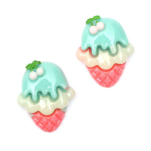 Children Clipon Earrings and Children Jewellery – Hot pink and turquoise ice cream with...