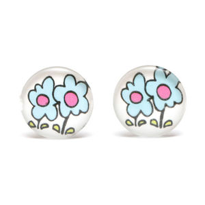 Children Clipon Earrings and Children Jewellery – Blue flowers print white round button...