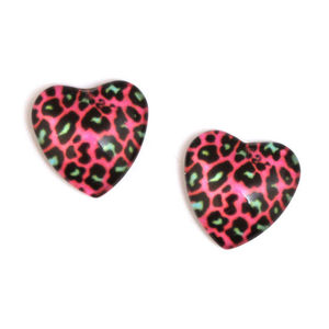 Children Clipon Earrings and Children Jewellery – Fuchsia leopard print heart glass clip...