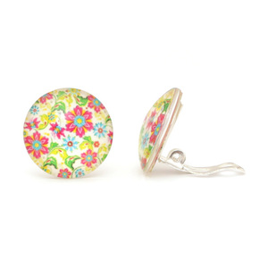 Children Clipon Earrings and Children Jewellery – Flower Pattern Print, Glas Cabochon Clip-ons