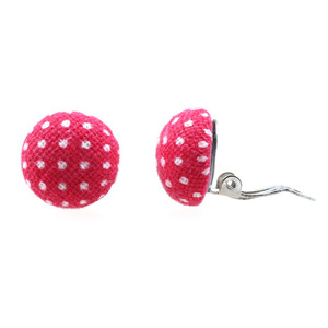 Children Clipon Earrings and Children Jewellery – Camellia Polka-dot Fabric Buttons