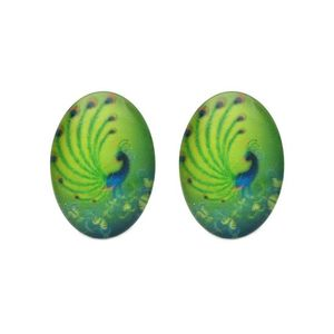 Children Clipon Earrings and Children Jewellery – Green Peacock Oval Shape Glass Print...