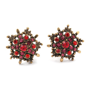 Children Clipon Earrings and Children Jewellery – Vintage star with red rhinestone crystal...