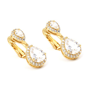 Children Clipon Earrings and Children Jewellery – White CZ teardrop 18ct gold plated drop...