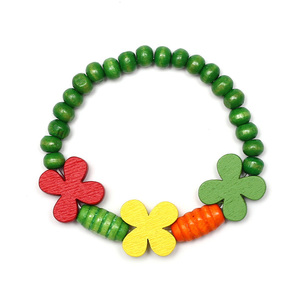 Children Clipon Earrings and Children Jewellery – Colorful Wooden Flowers with Green Wooden...