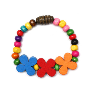 Children Clipon Earrings and Children Jewellery – Colorful Wooden Beads Stretchy Bracelets...