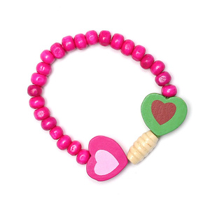 Children Clipon Earrings and Children Jewellery – Colorful Wooden Hearts with Fuchsia...