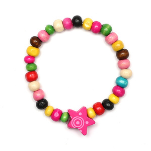 Children Clipon Earrings and Children Jewellery – Colourful Wooden Beads with Star Stretchy...