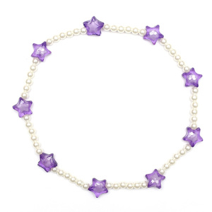 Children Clipon Earrings and Children Jewellery – Purple Transparent Acrylic Flowers Necklace...