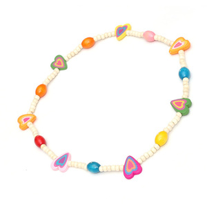 Children Clipon Earrings and Children Jewellery – White Dyed Wood Beads with Colourful...