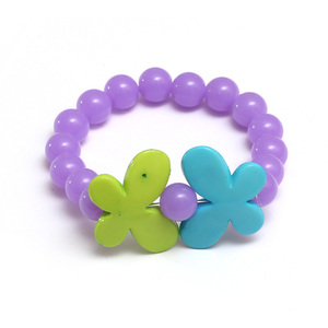Children Clipon Earrings and Children Jewellery – Purple Fashion Acrylic Bead Stretchy...