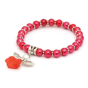 Children Clipon Earrings and Children Jewellery – Lovely Bridal Red Glass Pearl Beads...