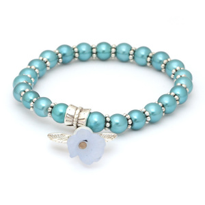 Children Clipon Earrings and Children Jewellery – Lovely Bridal Cyan Glass Pearl Beads...