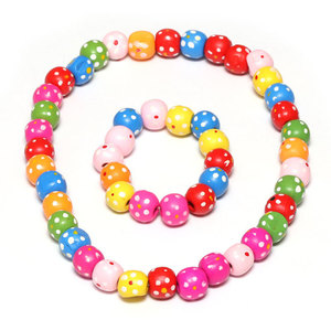 Children Clipon Earrings and Children Jewellery – Colorful Wooden Spotty Bead Stretchy...