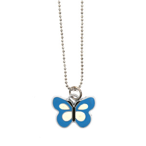 Children Clipon Earrings and Children Jewellery – Blue and white enamel butterfly pendant...