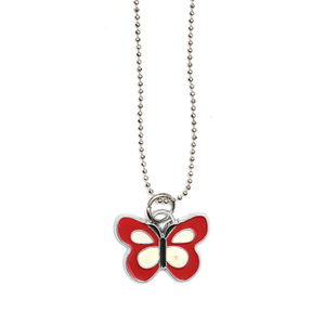 Children Clipon Earrings and Children Jewellery – Red and white enamel butterfly pendant...