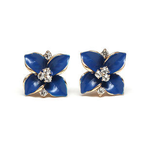 Children Clipon Earrings and Children Jewellery – Blue flower with crystal clip on earrings...