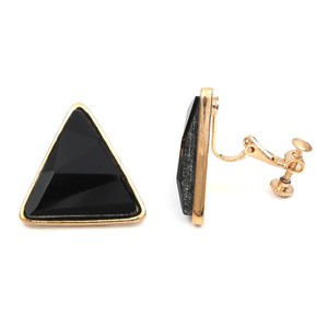 Children Clipon Earrings and Children Jewellery – Black Triangles in gold-coloured setting