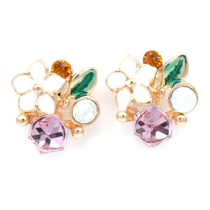 Children Clipon Earrings and Children Jewellery – Vibrant flower and crystal gold-tone...
