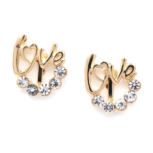 Children Clipon Earrings and Children Jewellery – Love crystal gold-tone clip on earrings