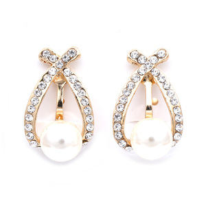 Children Clipon Earrings and Children Jewellery – Oval crystal pave with white faux pearl...