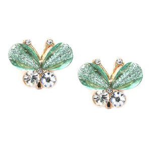 Children Clipon Earrings and Children Jewellery – Green crystal butterfly gold-tone clip...