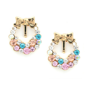 Children Clipon Earrings and Children Jewellery – Colourful crystal bunch with gold-tone...